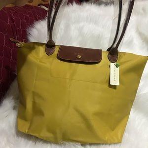 NWT.  Longchamp Le Pliage Curry Yellow Large